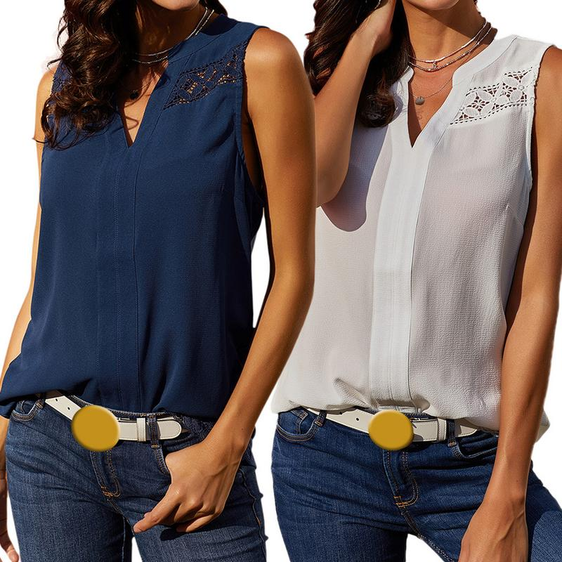 Ladies Casual Chiffon Sleeveless T-shirt Tops Female Solid Soft Simple Breathable V-neck Sleeveless Elegant Chiffon T-shirt New