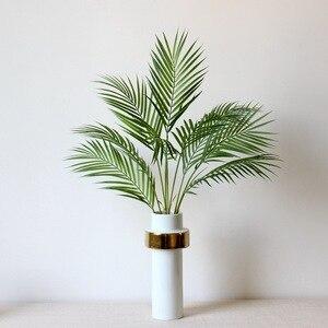 Image 2 - 90 センチメートルグリーン人工ヤシの葉プラスチック植物ガーデンホーム装飾コガネバナ熱帯木フェイク植物