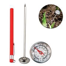 Нержавеющая сталь, почвенный термометр, 127 мм, стержень для чтения, циферблат, дисплей 0-100 градусов Цельсия, диапазон для наземного компоста, Садовые принадлежности