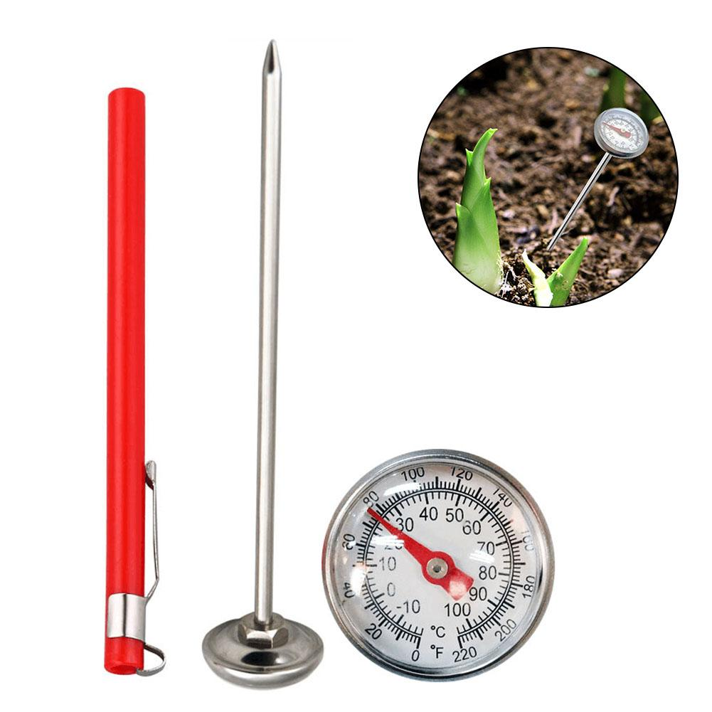 Stainless Steel Soil Thermometer 127mm Stem Read Dial Display 0-100 Degrees Celsius Range For Ground Compost Garden Supplies