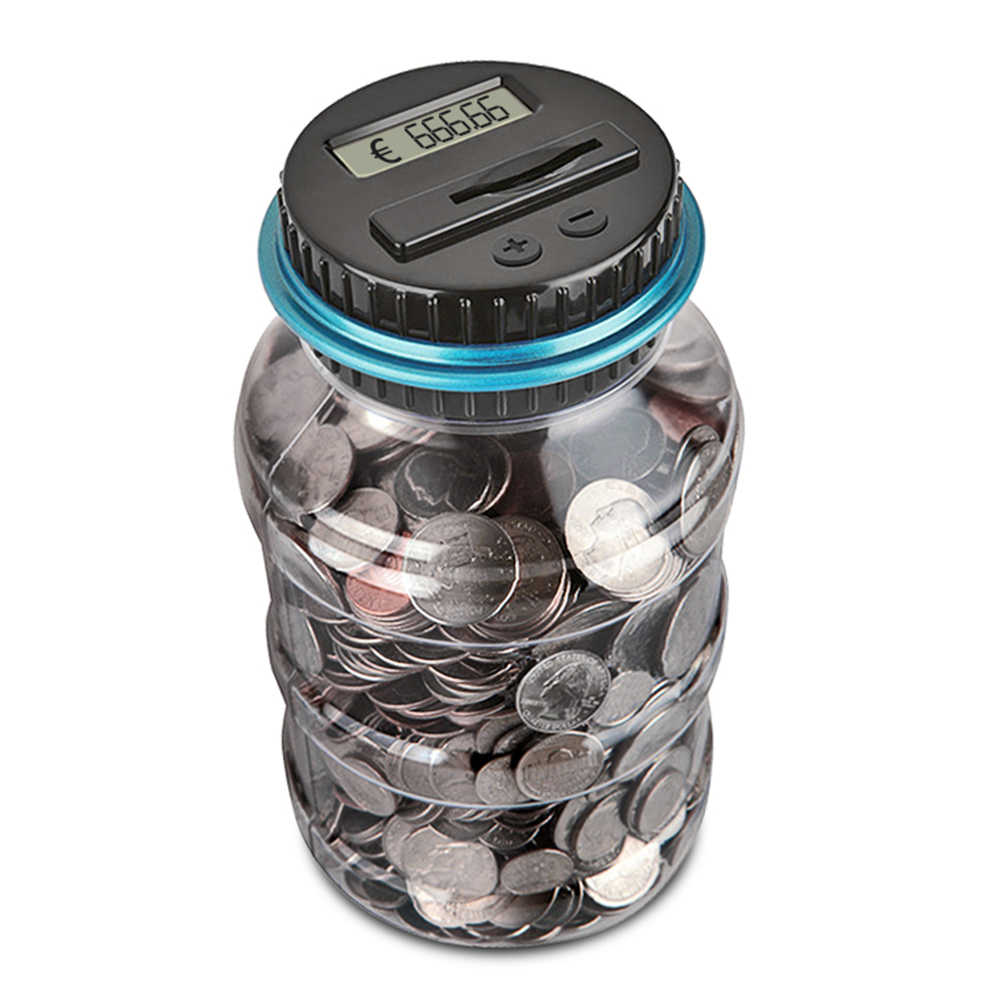 2.5L Electronic Piggy Bank Counter Coin Digital LCD Counting Coins Storage Box Money Saving Box Jar for USD EURO GBP Money