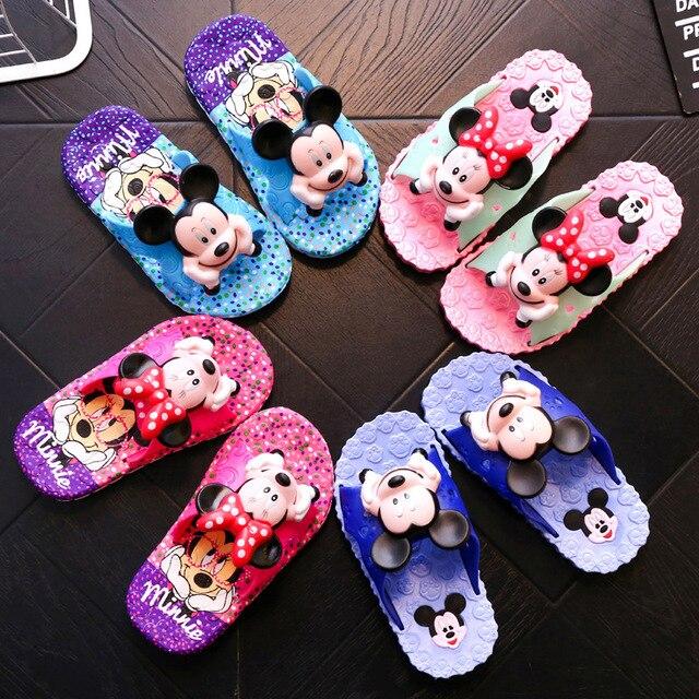 2019 Summer Girls Boys Baby Slippers Children Pvc soft bottom cartoon Stirped Toddler Kids Home Bathroom Sandal Kids Flip Flops