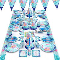 Mermaid Party Supplies Set Include Knife Fork Spoon Hat Etc Disposable Tableware Party Decor Set mermaid Theme Party Supplies