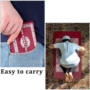 Image 1 - 100x60cm Red Portable Prayer Rug Kneeling Poly Mat for Muslim Islam Waterproof Prayer Mat Carpet