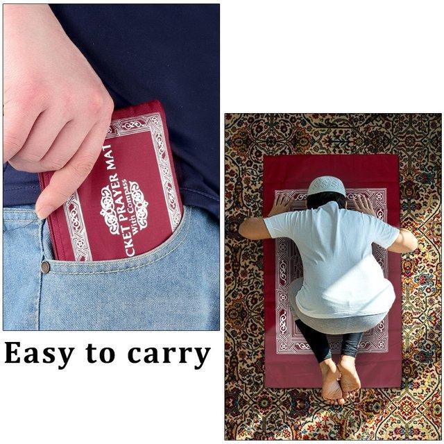 100x60cm Red Portable Prayer Rug Kneeling Poly Mat for Muslim Islam Waterproof Prayer Mat Carpet