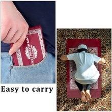 100x60cm אדום נייד תפילת שטיח כריעה פולי למוסלמי האיסלאם עמיד למים תפילת מחצלת שטיח