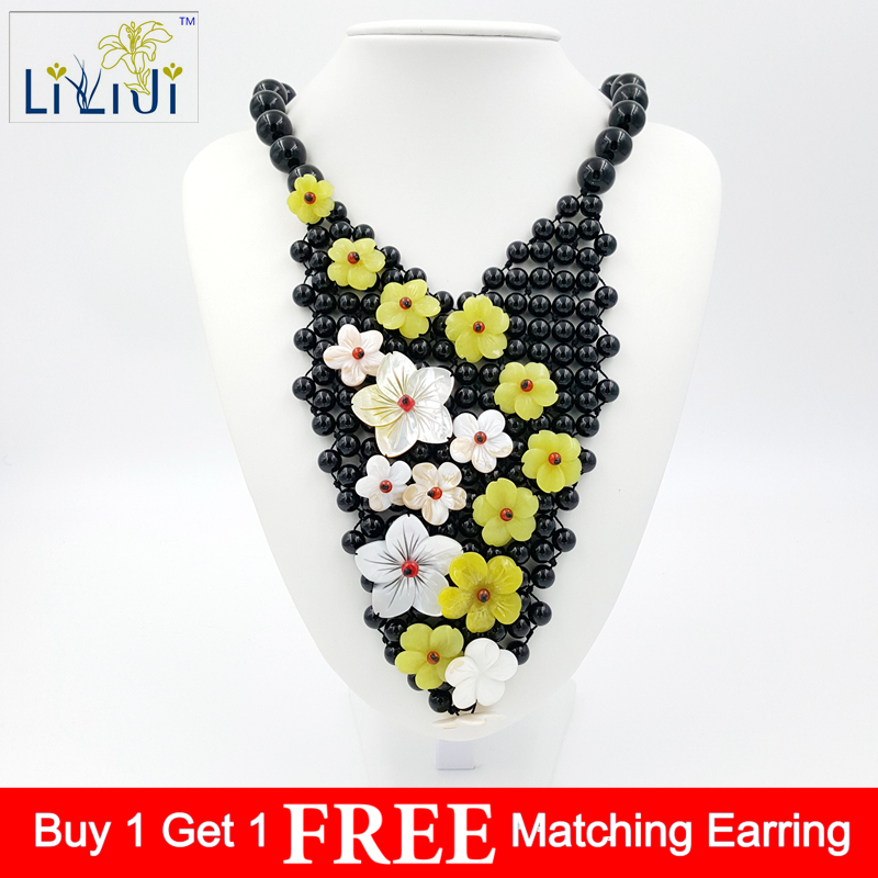 14187d3250 Natural Stone Black Agate,Korea Jade,Shell Flowers with Jade Toggle Clasp  Handmade Knitting Necklace Fashion Women Jewelry