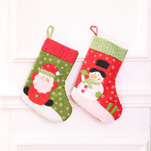 10 Pcs/Lot Santa Claus Snowman Christmas Xmas Socks Stockings Sack Decorations Candy Gift Bags for Children Tree 2018