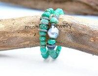 Boho Roundell Green Jades Pave Gunmetal Pave Cz Baroque Pearl Stretch Bracelet