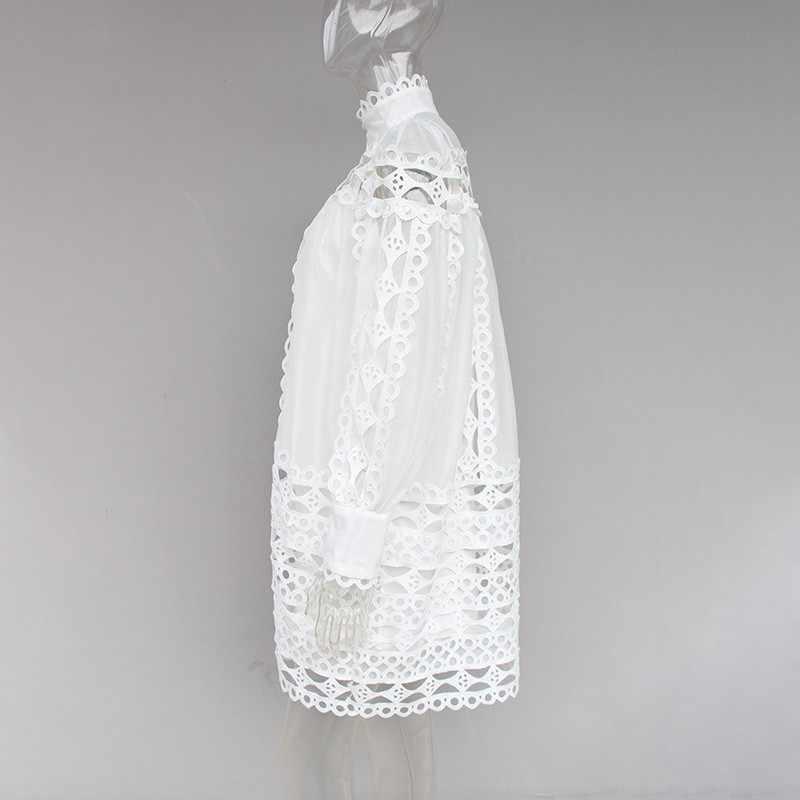 Платье-мини с длинным рукавом TWOTWINSTYLE, летнее кружевное платье с воротником-стойкой и рукавами фонариком