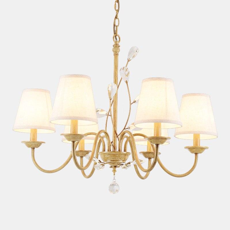 Классическая хрустальная люстра из железа с тканевым абажуром для столовой, Классические светодиодные потолочные люстры для спальни, баль