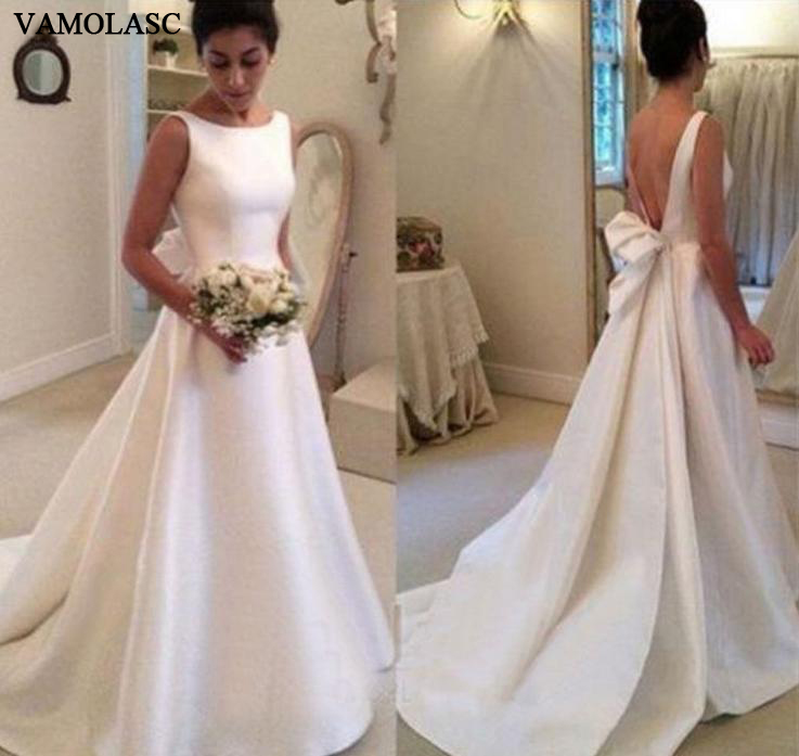VAMOLASC Elegant O Neck Tank Satin A Line Wedding Dresses Big Bow Sleeveless Sweep Train Backless Bridal Gowns