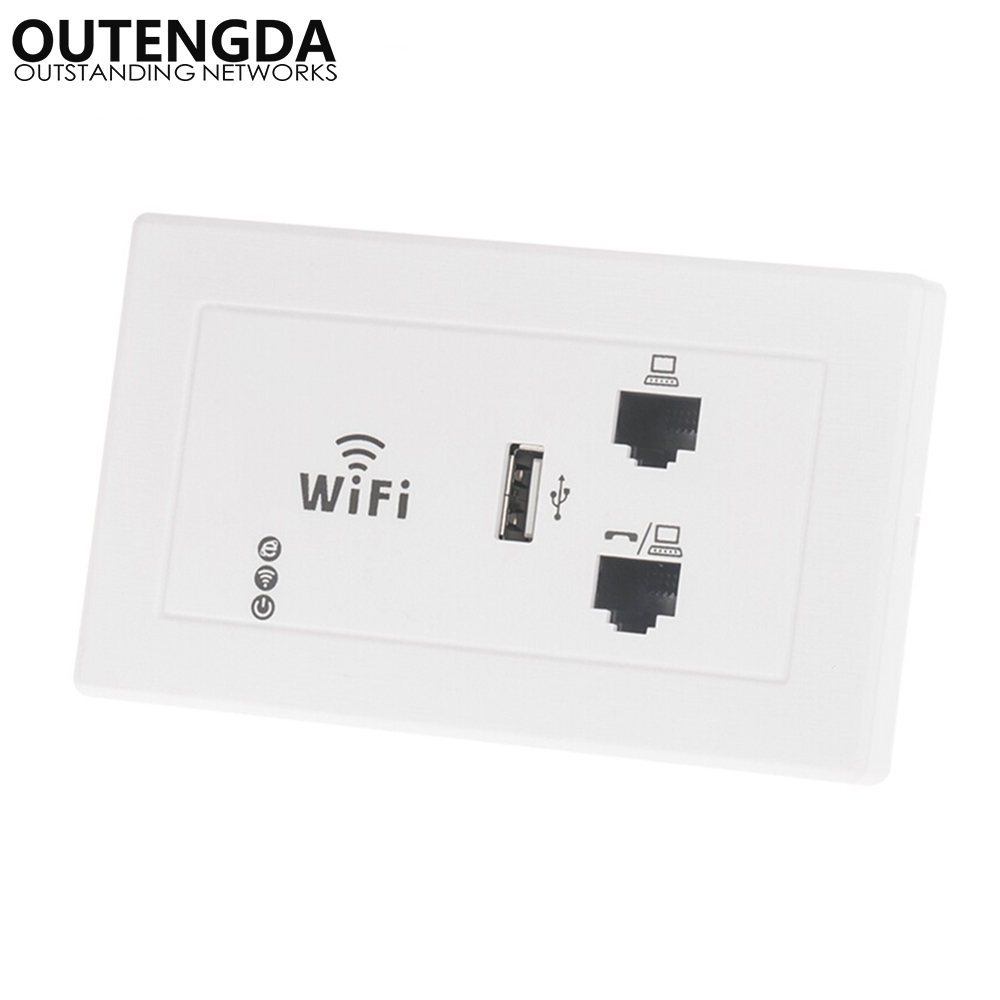 US Standard 118/120 Type In Wall Wireless Access Point With RJ45/RJ11 Ports WIFI Router 300Mbps Embedded Wlan In-wall AP
