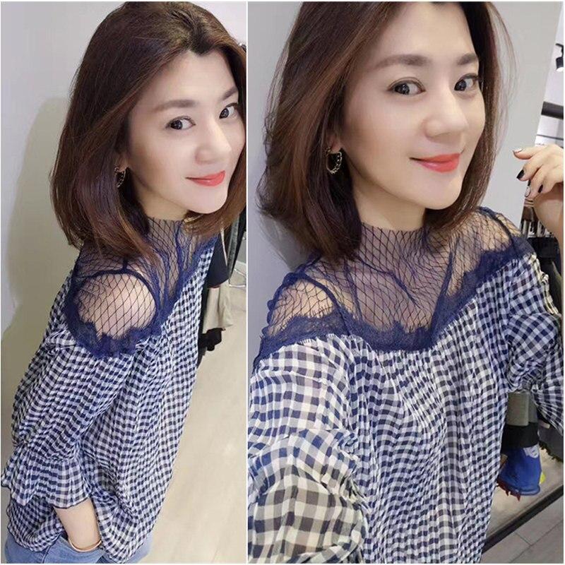 Mousseline 2019 La À Femme Plaid Mode Hauts O Chemise Encolure Nouvelle Chemisier En Pour Bureau Coréenne Haut Maille cou Dame XwPHqg