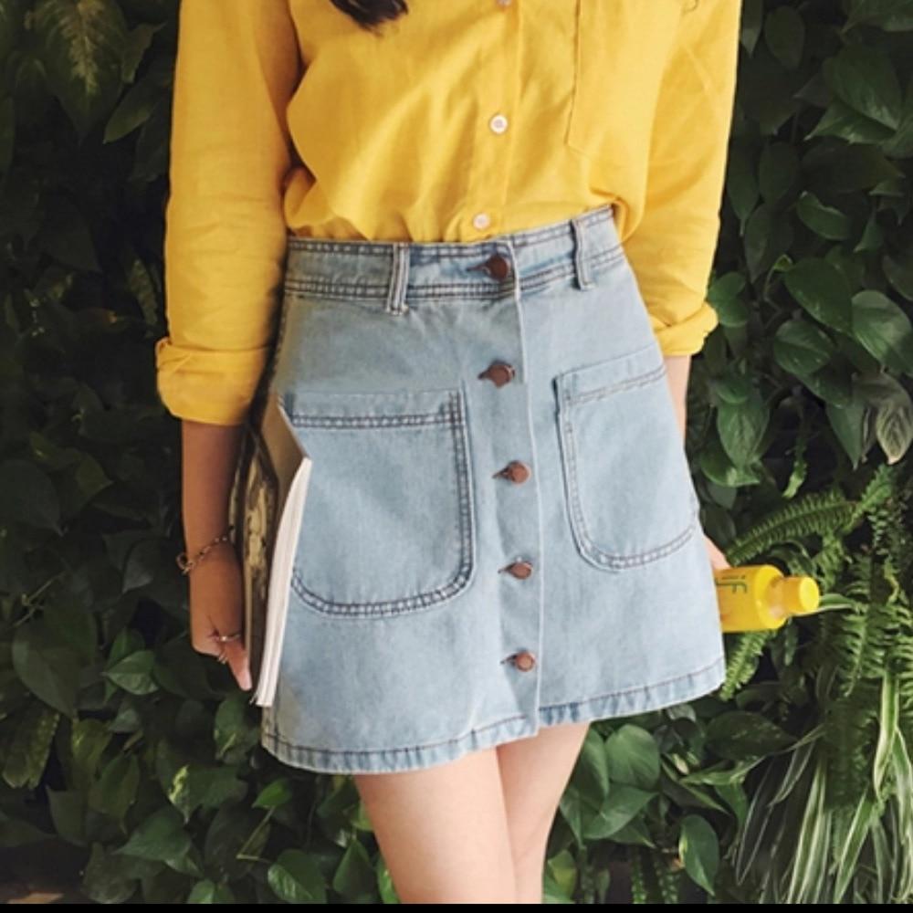 NORMOV Casual cintura alta Mujer Pantalones cortos de mezclilla A tipo Slim Hip falda 2019 moda mujer