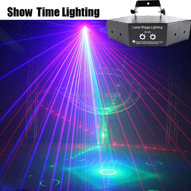 Show Time 6 Lens DMX Red Green Blue RGB Beam 16 Patterns Laser Scanner Light Home Party DJ Stage Lighting KTV Show Sector Laser