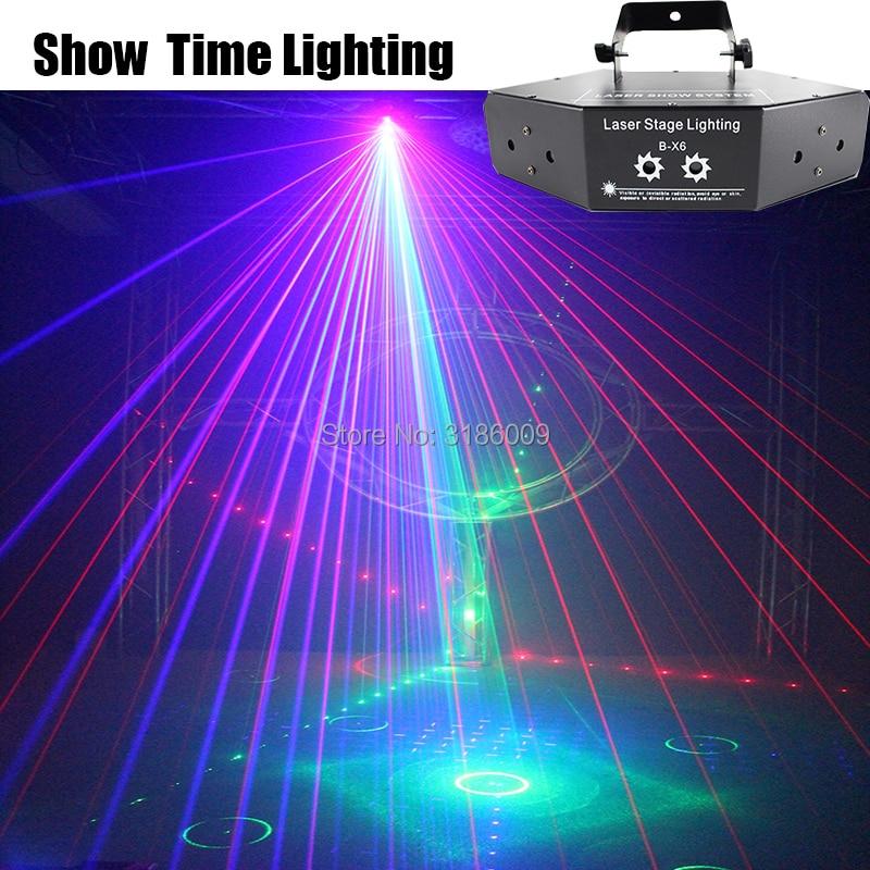 Show Time 6 Lens DMX Red Green Blue RGB Beam 16 Patterns Laser Scanner Light Home Party DJ Stage Lighting KTV Show Sector laser(China)
