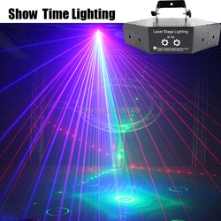 Show Time 6 lentes DMX rojo verde azul RGB Beam 16 patrones escáner láser Luz hogar fiesta DJ iluminación de escenario KTV Show Sector láser