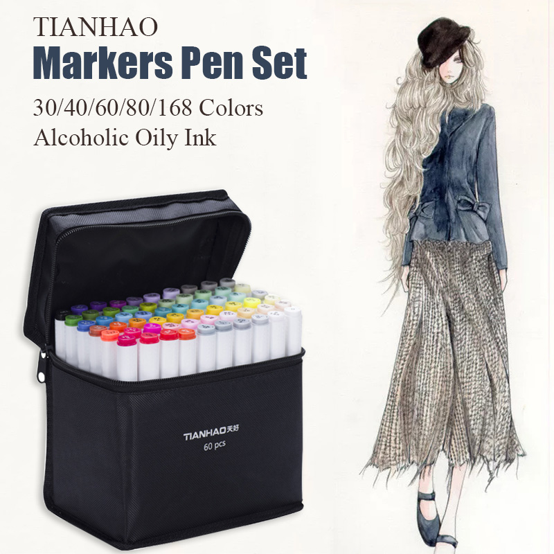 TIANHAO Markers Pen Set 30/40/60/80/168 Colors Dual Head Alcoholic Oily Based Brush Pen For Manga Sketching Marker Art Supplies