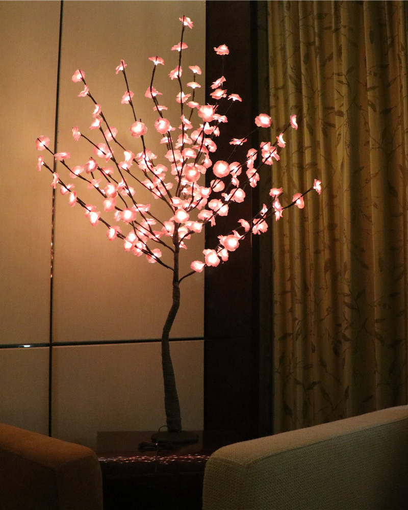 52 160 LED fleur Mini Rose fleur arbre lumière avec Base Nature tronc vacances nouvel an mariage Luminaria décoratif arbre lumière - 3