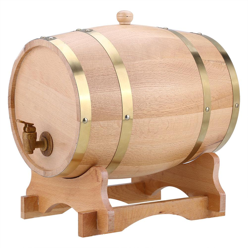 10L Vintage Wood Oak Timber Wine Barrel Dispenser for Whiskey Bourbon Tequila