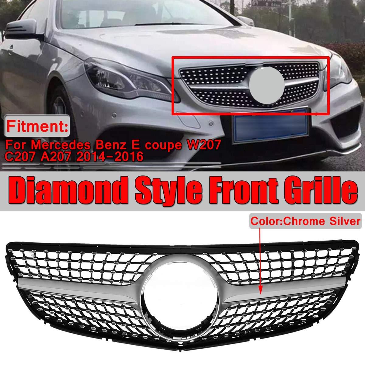 Chrome W207 C207 A207 diamant gril voiture pare-chocs avant Grille pour Mercedes pour Benz E pour Coupe W207 C207 A207 2014-2016