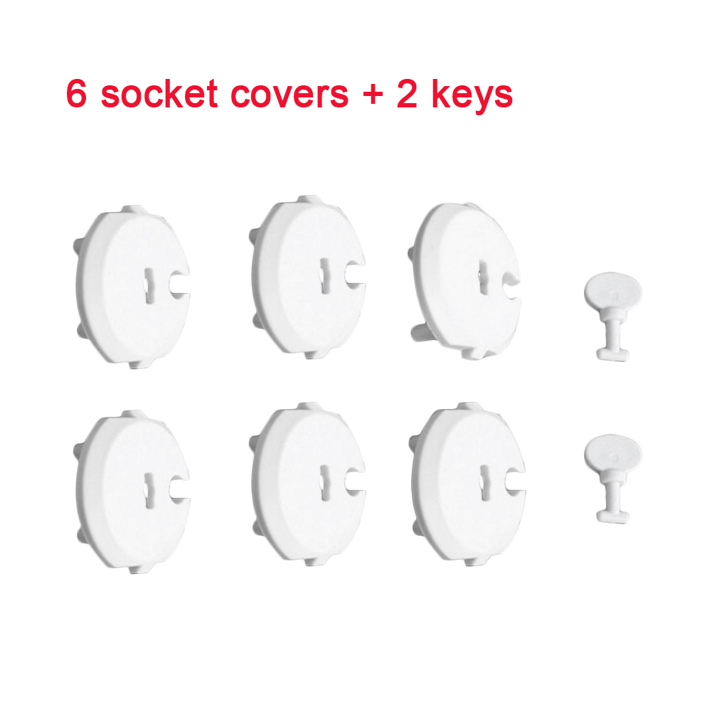 6PCS Socket Cover+2PCS Key Childproof Socket Set Outlet Protection Cover Security Baby Safety Plug Cover Anti-electric Shock