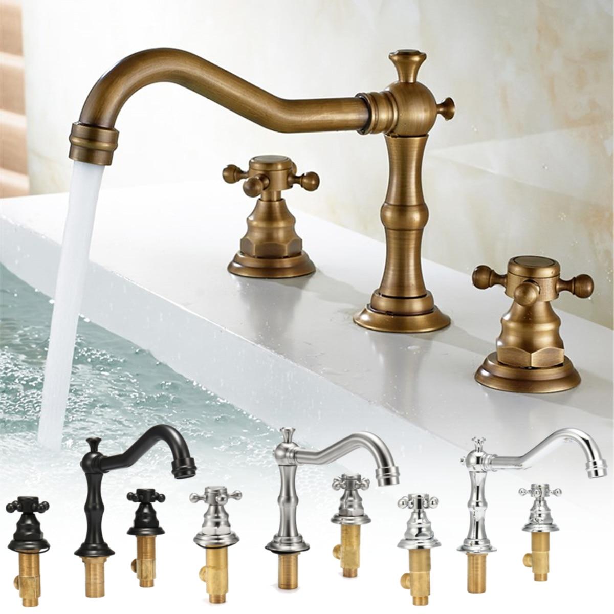 Antique 3 trous 2 bouton robinet salle de bain baignoire bec bassin évier robinets Double poignée contrôle bain chaud froid mélangeur eau robinet matériel