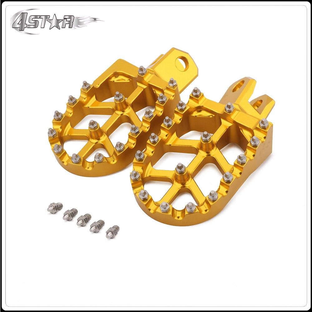 CNC Gold & Blue Motorcycle Foot Pegs Pedals Rests For SUZUKI RM125 RM250 RMX250 DRZ400 DRZ400E DRZ400S KAWASAKI KLX400R KX500