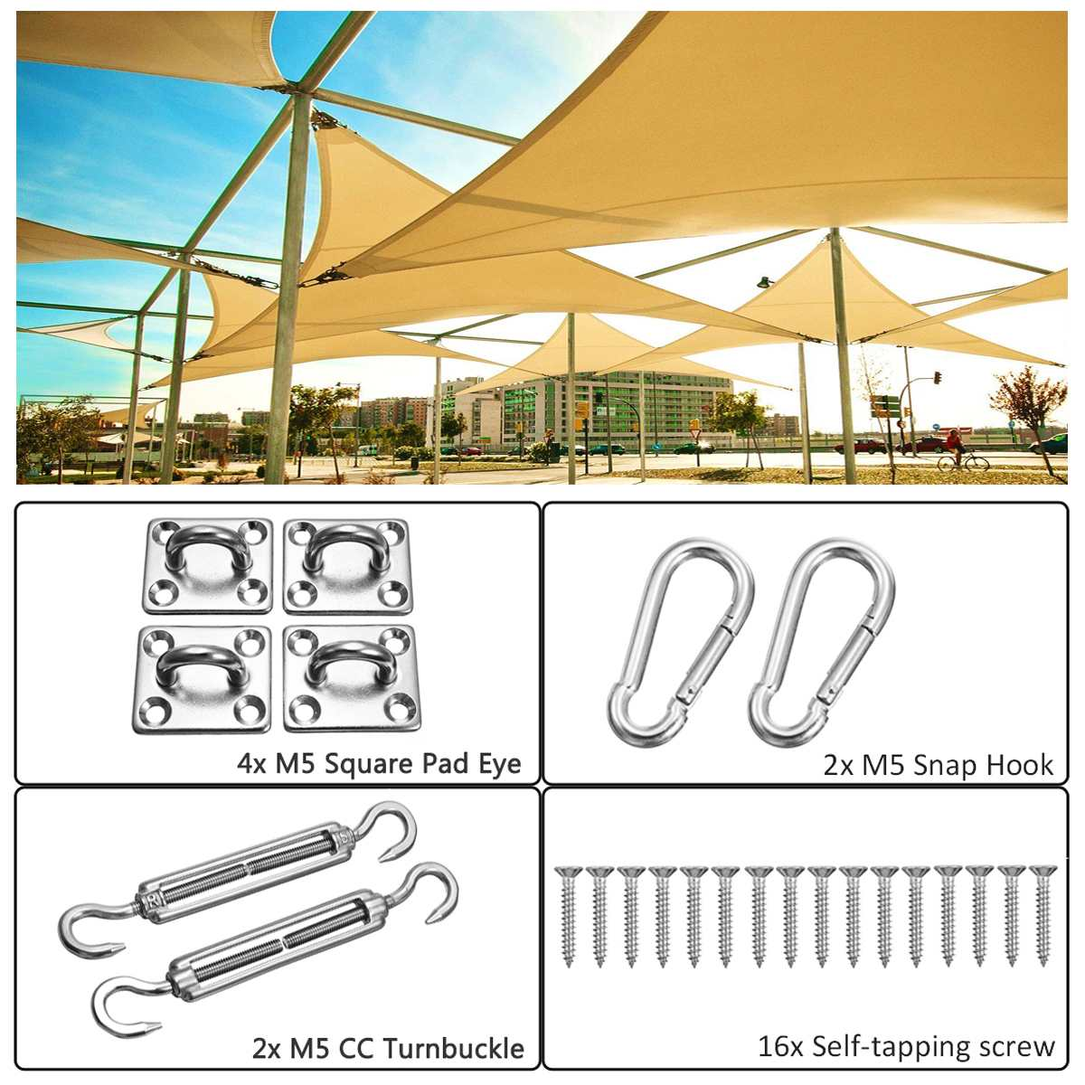 24Pcs Sun Shade Sail Accessories For Rectangle Or Square Shade Sail Replacement Fitting Tools Kit Realiable To Use