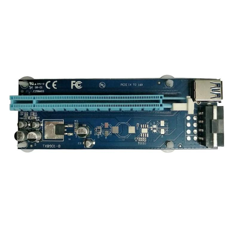 PCI Express Graphics Riser Card 1X to 16X Extender <font><b>USB</b></font> 3.0 SATA <font><b>15</b></font> <font><b>Pin</b></font> to 4Pin Cable for Bitcoin Miner Mining image