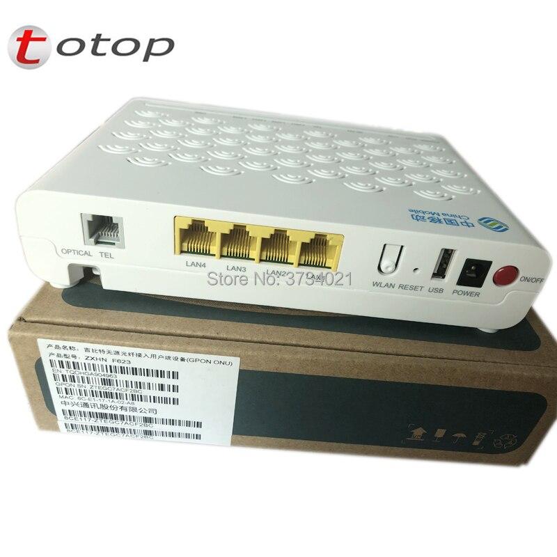 Top quality ZTE ZXHN F623 GPON ONU with 1GE+3FE+1Voice+USD+WIFI, English Version fibra optica GPON ONT Router