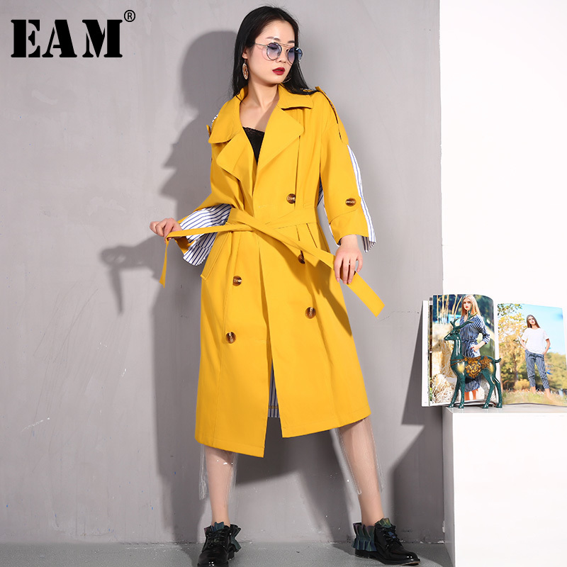 [EAM] 2019 New Spring Winter Lapel Long Sleeve Yellow Hit Color Back Striped Stitch Windbreaker Women   Trench   Fashion Tide BD22