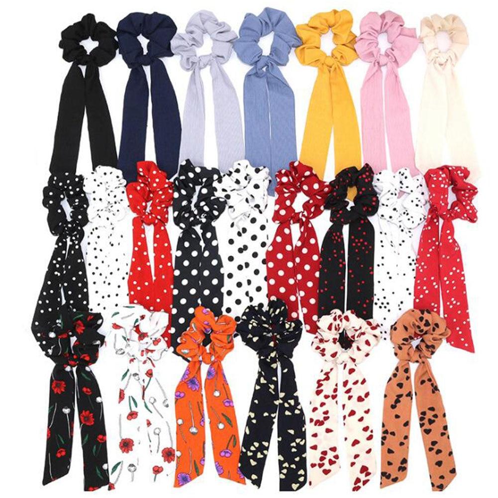 Bohemian Polka Dot Floral Printed Ribbon Bow Hair Scrunchies Women Elastic Hair Band Scarf Hair Rope Ties Girls Hair Accessories