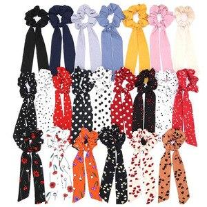 Bohemian Polka Dot Floral Printed Ribbon Bow Hair Scrunchies Women Elastic Hair Band Scarf Hair Rope Ties Girls Hair Accessories(China)