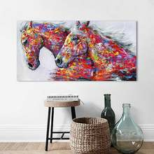 HDARTISAN Wall Art Picture Canvas Oil Painting Animal Print For Living Room Home Decor The Two Running Horse No Frame(China)