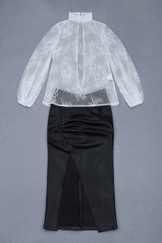 Cuir De À Dentelle Soirée Manches Qualité En Ouvert Fourche Tops Blanc Jupe Femmes Pièces Longues Élégant Haute Robe 2 SwqS7Ya