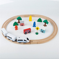 30PCS Kids Hand Crafted Wooden Train Set Triple Loop Railway Track Toys Play Set Diecasts Toy Vehicles Hand Crafted Wooden Train