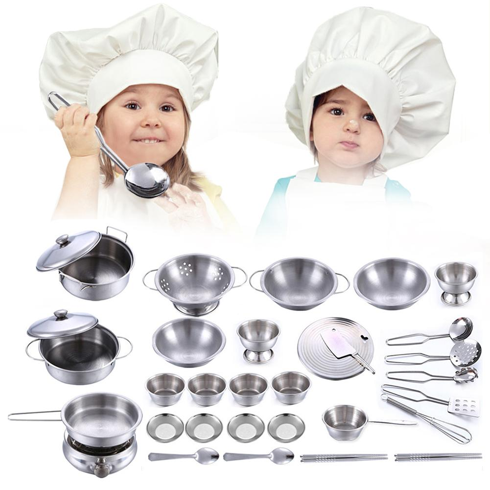 18PCS/25PCS/32PCS/40PCS Play House Toys Super Anti-fall Stainless Steel Boys And Girls Toys Children's Play House Kitchen Toy