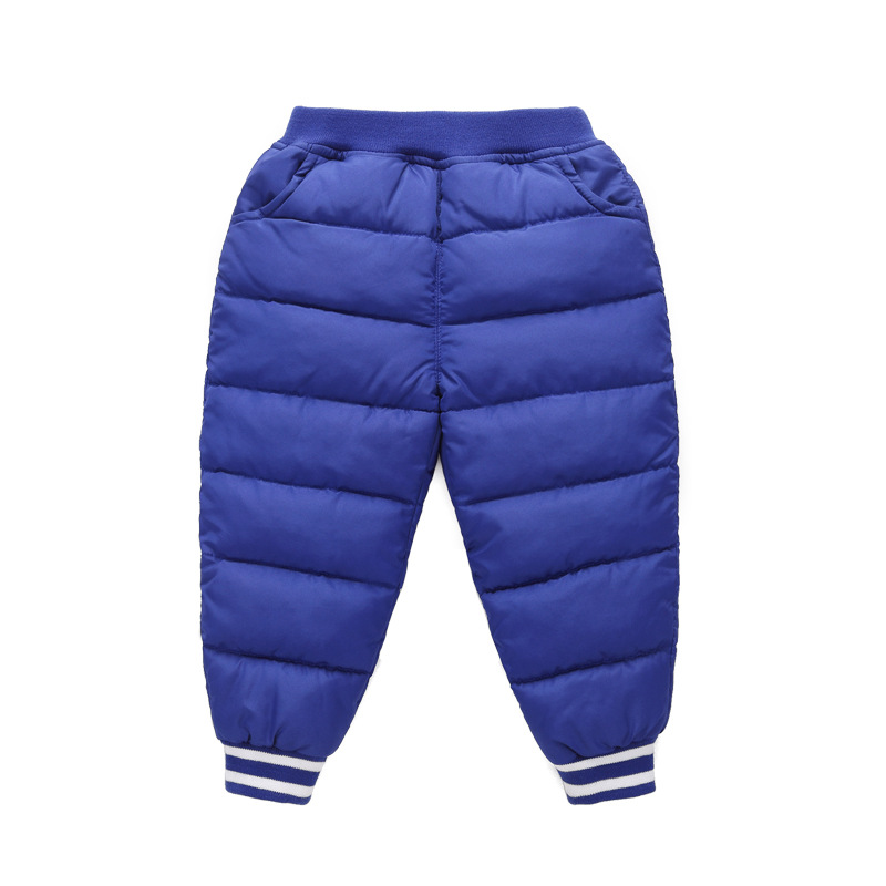 Kids Winter Down Cotton-padded Warm Trousers Children Outdoor Skiing Camping Trekking Sports Play Snow Boy Girl Windproof Pants