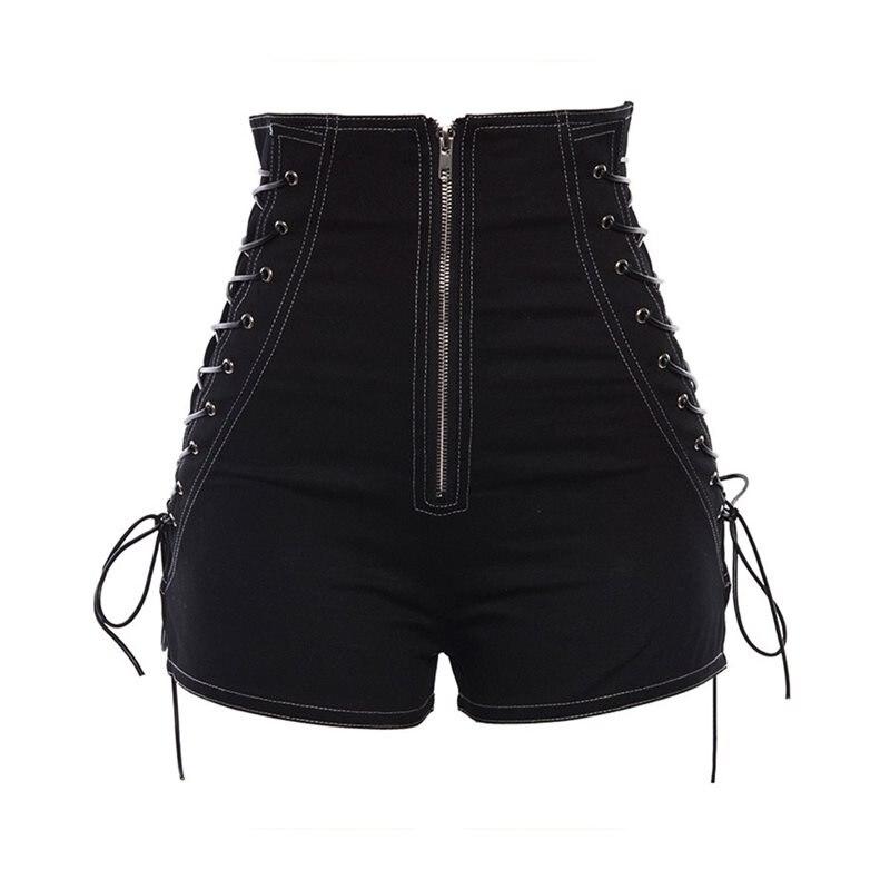 Rosetic Women Shorts Casual Gothic Sexy Club Punk Hip Hop Straight Thin High Waist Plain Zipper Black Cool Female Summer Shorts