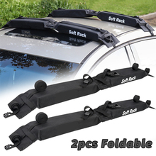 цена на 2 Pieces Car Soft Roof Rack Luggage Carrier Rack Black Fold Oxford Load 60kgs Exterior Accessories