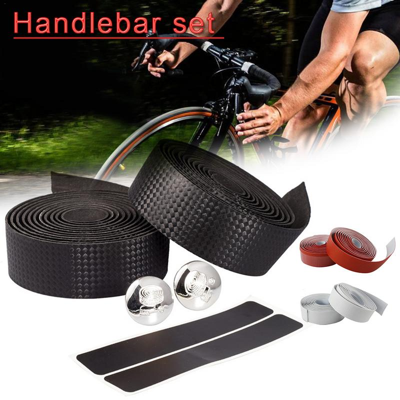 2M Carbon Fiber Road Bike Bicycle Handlebar Tape Set Bicycle Straps Decor Cycling Non-slip Handle Belt Cork Wrap With Bar Plugs