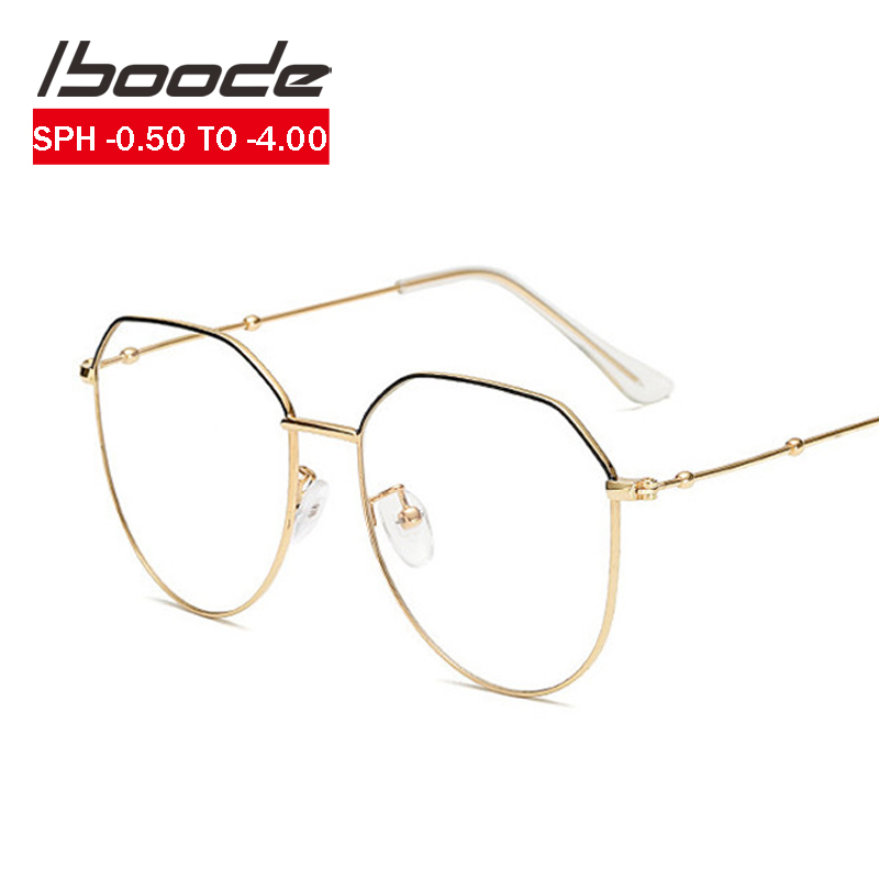 Iboode Unisex Vintage Gold Metal Frame Myopia Glasses Women Men -0.5 0.75 1 1.25 1.5 1.75 2.0 2.25 2.5 2.75 3.0 3.25 3.5 3.75 4