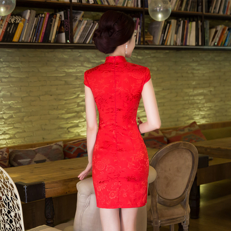 Image 2 - SHENG COCO Womens Red Chinese Traditional Dresses Thin Short Jacquard Cotton Cheongsam Chinese Style Maam Marry Qipao ChineseCheongsams   -