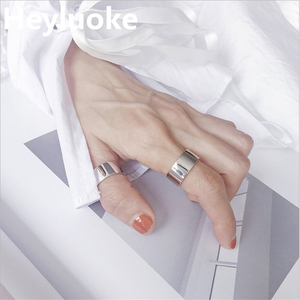 2019 New arrival 100% 925 Sterling thumb Glossy rings for women big Faced Wide Finger Rings For Unisex Jewelry mama men bts(China)