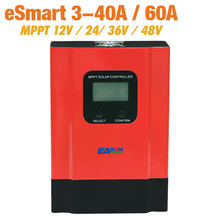 ESmart3 MPPT Солнечный контроллер 40A 60A 48 в 36 в солнечное зарядное устройство 24 в 12 В зарядное устройство Макс 150VDC задний светильник ЖК-солнечный регулятор