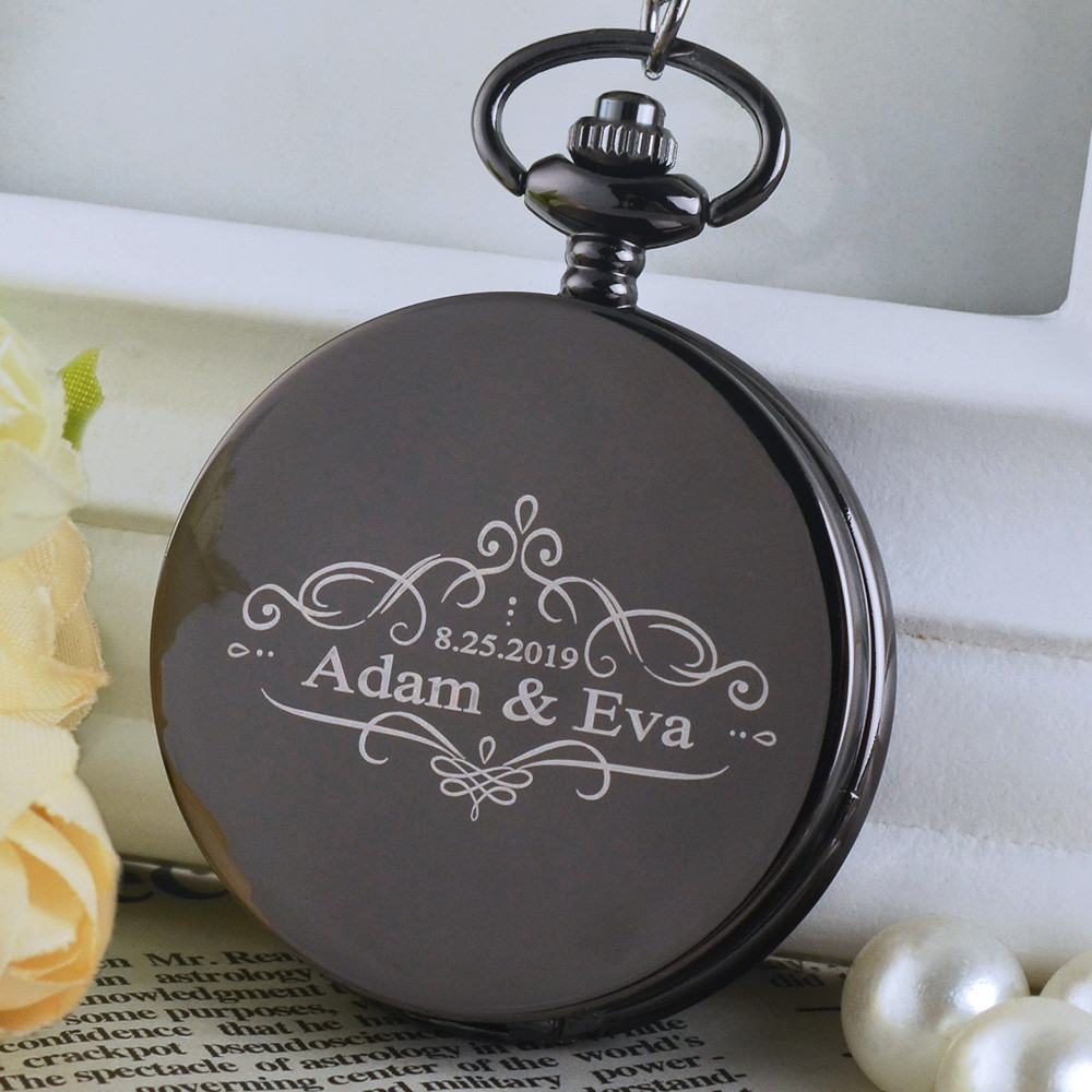 Personalised New Arrival Retro Wedding Theme Bronze Quartz Pocket Watches Vintage Watches Christmas Birthday Gift
