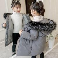 Warm Parka Baby Jackets Coats For Kids Fur Hooded Teenage Girls Outerwear Coat Autumn Winter Grey Pink Black Children Clothing