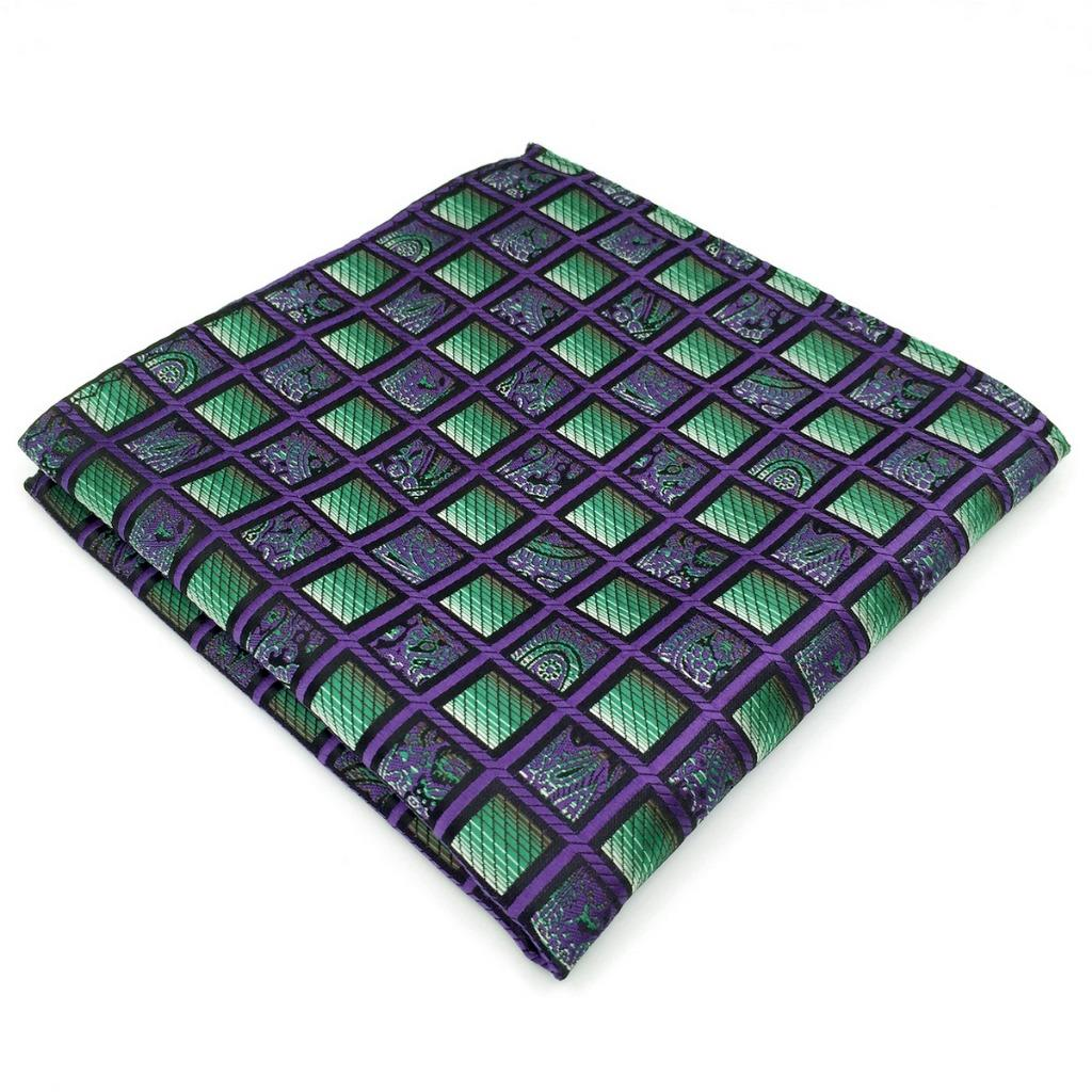 AH10 Mens Pocket Square Purple Green Checkes Silk Brand New Fashion Classic Handkerchief 12.6